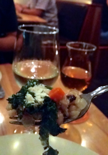 vegan, vegetarian, farmhouse tap & grill, hoppin joe, faro, braised kale, carrots, feta cheese, house made, homemade, delicious, foodie