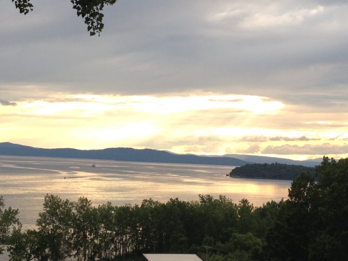 backyard view, Lake Champlain, Adirondack Mountains, Burlington, Vermont, beautiful views, sunset, beach, beach life, summertime, summer