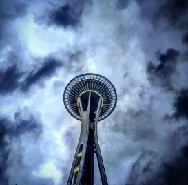 Space Needle Cloudy Seattle